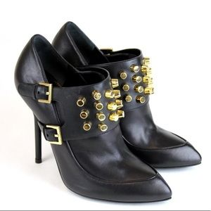 Gucci Black Leather Gold Studded Booties Size 39